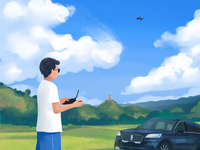 The man with the drone radesign car color cloud sky plant drone illustration