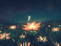 Meet under the stars china rdd flowers green design color imagine illustration stars
