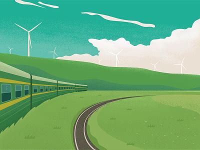 Green train green grassland windmill train illustration