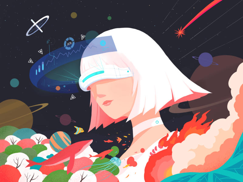 VR Illustration space star imagine illustration vr