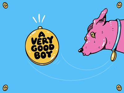a very good boy lettering cartoon typography hand drawn illustration