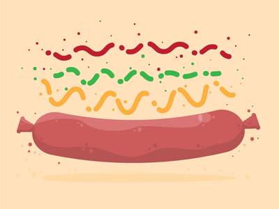 Hat Dag! hot dog vector illustration food weiner sausage ketchup catsup mustard relish fun lunch time