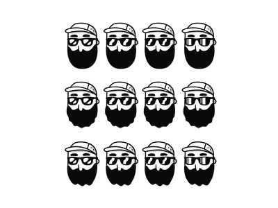 Beards & Reflections person icon logo character hat sunglasses beard