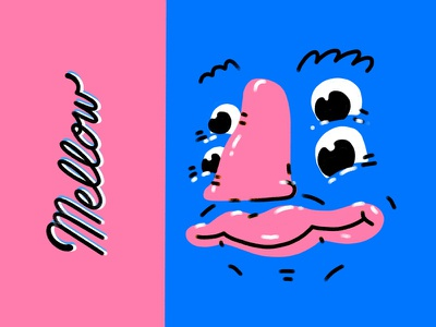 mellow face shapes character design face colorful portrait illustration 2d typography lettering