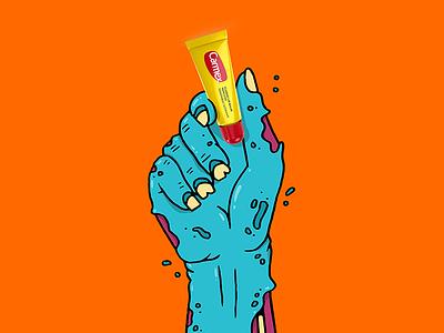 Carmex Halloween Hand #1 illustration product lip balm content ad zombie halloween monster hand
