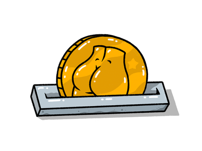 Deposit in the Booty Bank save savings piggy bank editorial shiny money bank coin bum buns butt