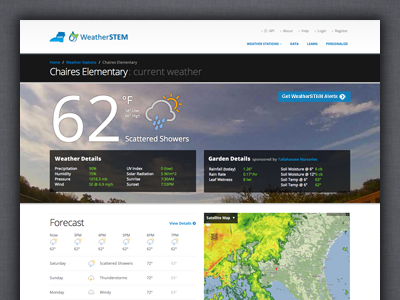 WeatherSTEM Station Page ui interface web application flat weather data learning