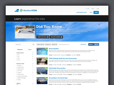 WeatherSTEM Learn List View ui interface web application weather data learning