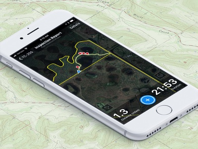 Land Inspection App ux ui trail outdoor map app iphone ios
