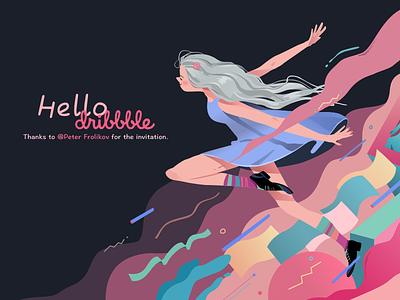 Hello Dribbble vector dance colour girl illustration ui