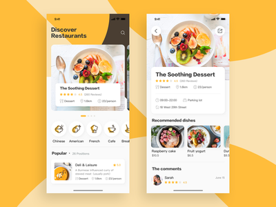 Discover Restaurants menu colors food clean discover restaurants ux ui