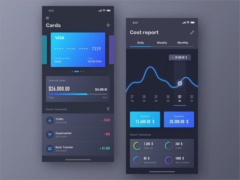 Finance App ue ui iphone x dark calendar data layout bank card finance app