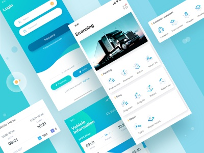 Supply Chain-2 technology 3d log in transport supply chain app color icons card ux ui