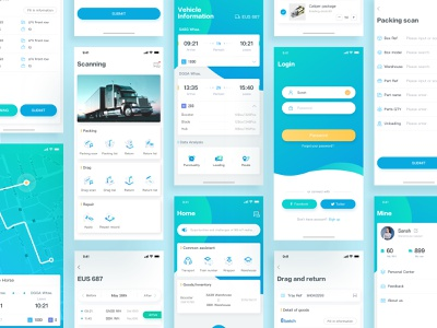Supply Chain-3 transports technology 3d supply chain icons app card color ux ui