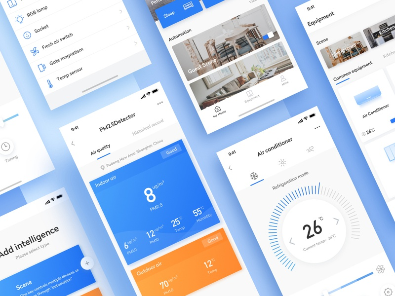 Smart Home-2 air conditioner pm2.5 weather forecast smart home app color icons card ux ui