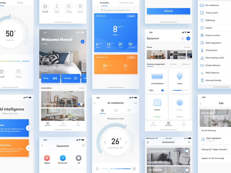 Smart Home-3 design air conditioner smart home icons app card color ux ui