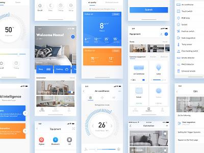 Smart Home-3 design air conditioner smart home icons app card color ux ui