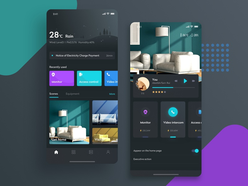 Smart Life icons smart home color card app ux ui