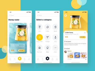 Dispenser-User Side sell commodity honey drinks food icons color card app ux ui