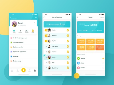Dispenser-User Side-2 ui ux color card food icons personal center rank ranking wallet recharge