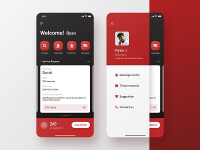 Wg drawer navigation bar report form design card icons color ux app ui