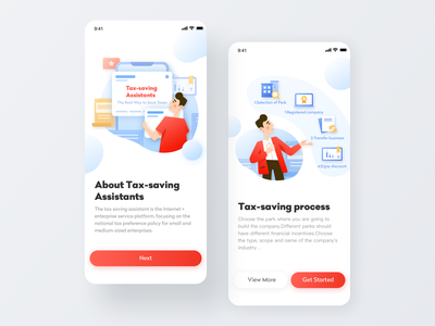 Tax-saving Assistants welcome page guide page business red design color card app illustration ui