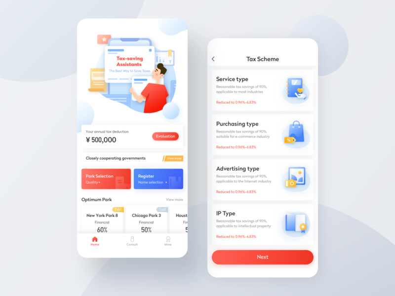 Tax-Saving Assistants icons illustration card app ux ui