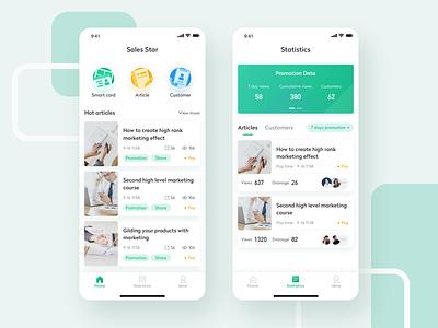 Sales Star list article sales assistant app icons color card ux ui