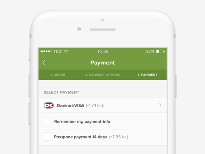Food ordering app commerce checkout check pay payment order flow native ios mobile