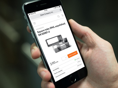 Product page - Mobile B2B eCommerce product page ecommerce shopping mobile grainger steel industry b2b commerce