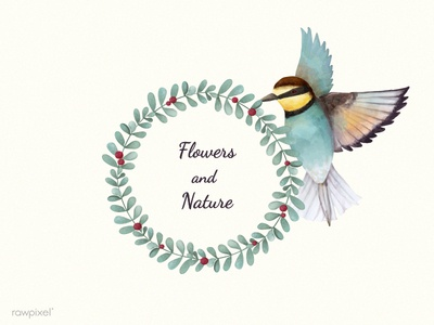 Floral Frame With Bee Eater