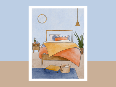 Interiors Series: Bed bedroom ipadpro procreate decor illustrator interiors illustration