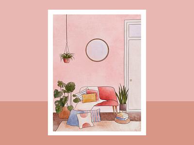 Interiors Series: Couch cushions plants sofa pink monochrome ipadpro illustrator procreate interiors illustration