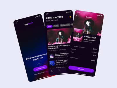 Youevent - Event App Concept mobile ui app ios design