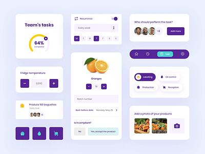 UI elements restaurant management app app design purple elements colorful ui
