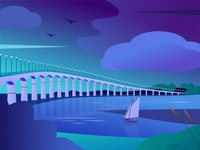 Landscape île de Ré bridge beach day night blue landscape illustration nature boat sea illustration colors bridge landscape