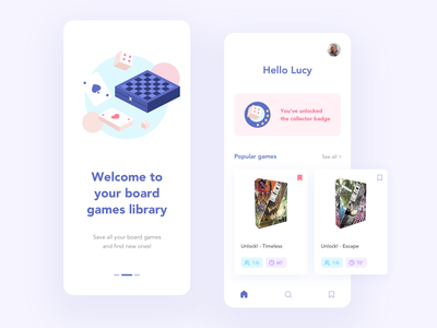 Library for your board games ui design games game illustration board game board games pink blue ui app