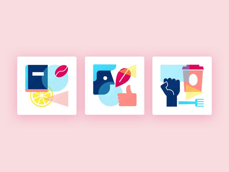 Fairtrade icons illustration geometric colorful ui design fairtrade