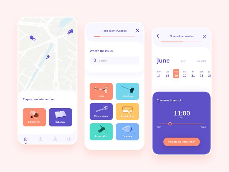 Plumber App application mobile ui design colorful plumber app