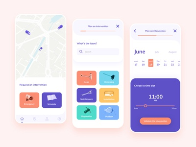 Plumber App application mobile ui design colorful plumber app