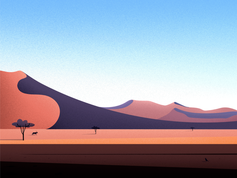 Namib Desert bird vector sunset blue evening landscape tree illustrations nature namib desert light illustration