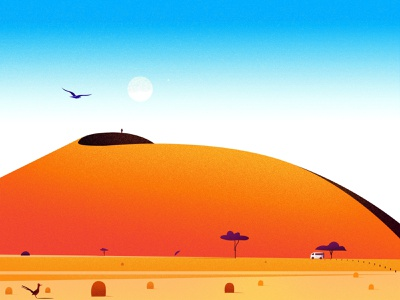 Namib Desert journey project texture illustrator bird man blue evening illustrations nature vector light landscape tree illustration