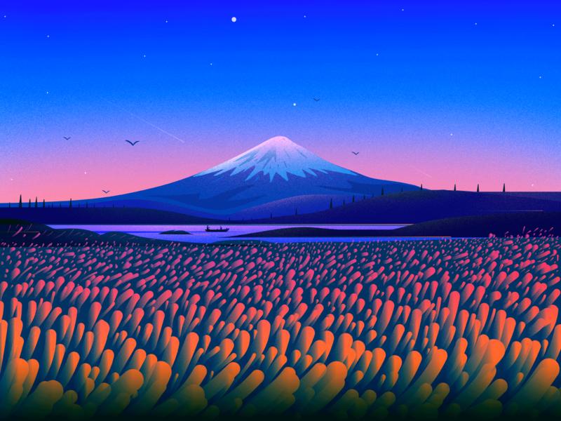 Mount Fuji colors landscape illustration nature illustration boat river birds places travel journey texture sky nature landscape mountain fuji illustrator illustration