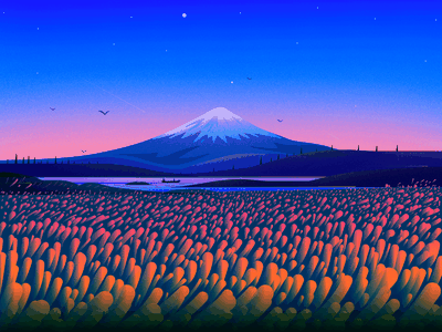 Mount Fuji colors landscape illustration nature illustration boat river birds places travel journey texture sky nature landscape mountain fuji illustrator illustration