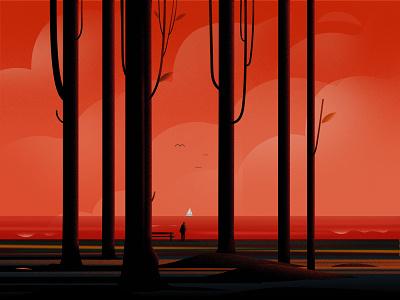 solitude traveling boat trees nature art red man sea journey travel nature illustration illustrations bird sunset evening vector light tree nature landscape illustration