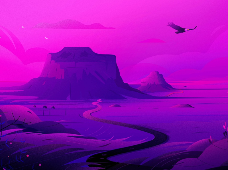 Pawnee National Grassland - Colorado light illustrations trip road mount eagle travel purple cannabis colorado journey prairies nature landscape illustration