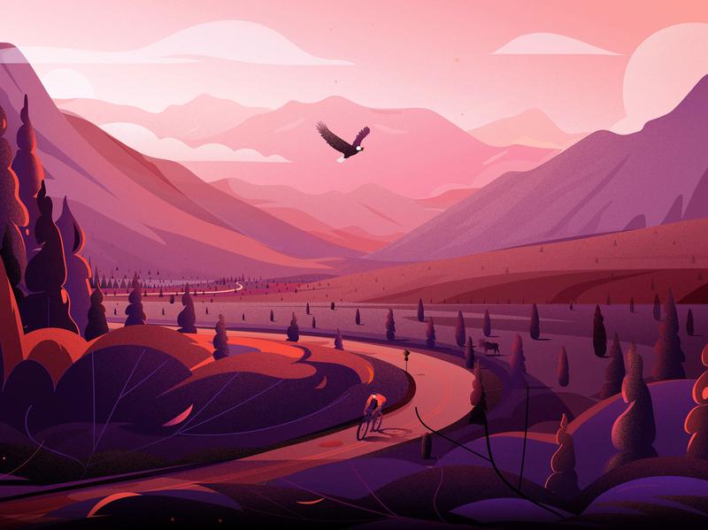 Highway in - Alaska tree illustrations alaska eagle trip road freedom cannabis journey travel mountain nature landscape illustration