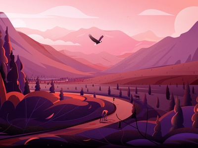 Highway in - Alaska tree illustrations alaska eagle trip road freedom cannabis journey travel mountain nature landscape illustration