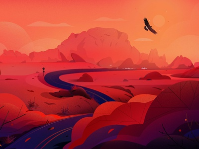 Desert landscape - Nevada illustrations hill red landscape illustration freedom road trip journey travel cannabis road vector nature landscape desert illustration