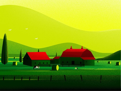 Farm illustrations nature art farmers landscapes nature illustration farm house birds green agriculture cow tree nature landscape illustration farm